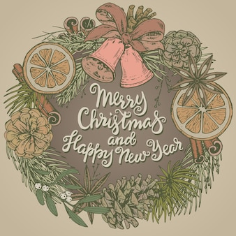 Cartolina d'auguri di buon natale e felice anno nuovo con piante invernali disegnate a mano