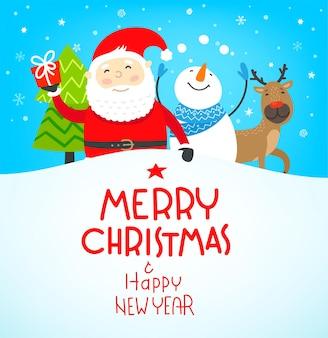 Buon natale e felice anno nuovo biglietto di auguri.