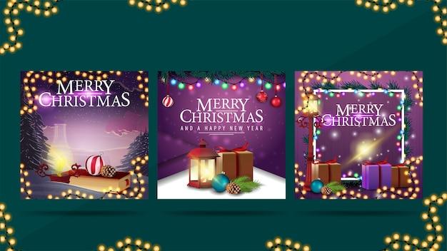 Buon natale e felice anno nuovo, biglietti di auguri con elementi natalizi e addobbi natalizi