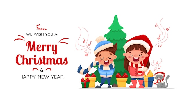 Auguri di buon natale e felice anno nuovo. personaggi dei cartoni animati bambini e gatto che canta la canzone di canto natalizio isolato