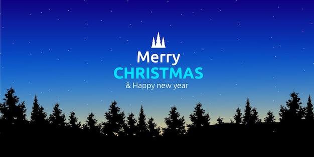 Buon natale e felice anno nuovo saluto con pineta silhouette