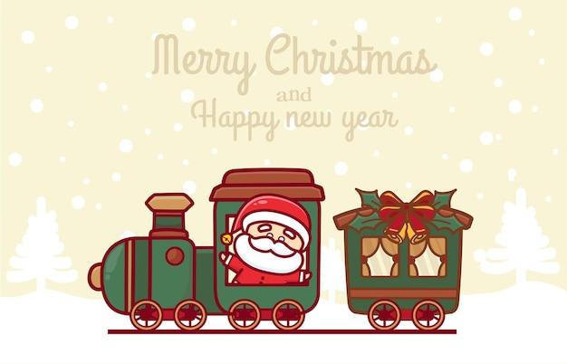 Modello di auguri di buon natale e felice anno nuovo con babbo natale carino che guida il treno di natale.
