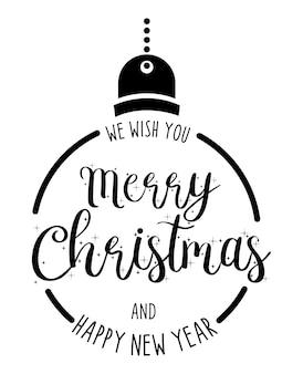 Buon natale e felice anno nuovo disegnati a mano lettering card design o poster background. Vettore Premium
