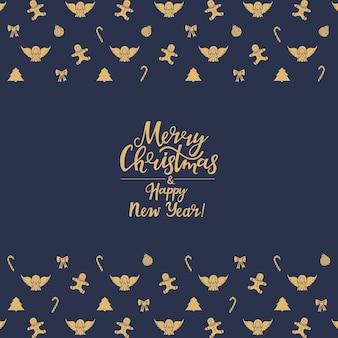 Buon natale e felice anno nuovo scritte a mano. carta festiva.