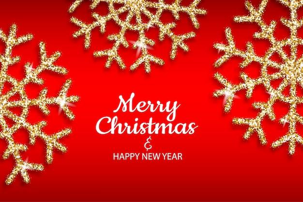 Fiocco di neve d'oro di buon natale e felice anno nuovo