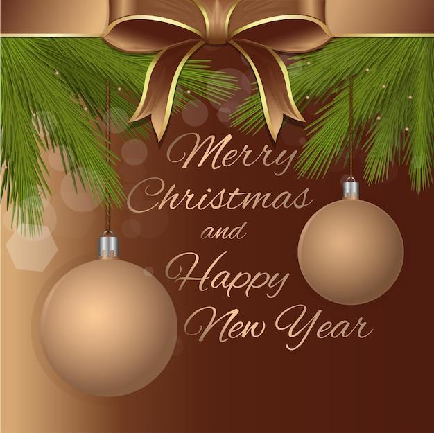 Buon natale e felice anno nuovo. modello di biglietto di auguri vacanza con scritte in oro, nastro beige, fiocco, palle di natale e rami di abete.