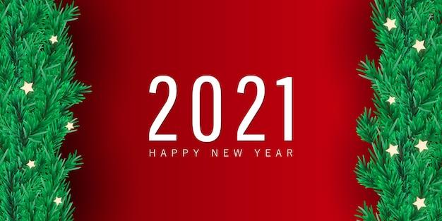Fondo minimo di festa di buon natale e felice anno nuovo con rami di abete e stella