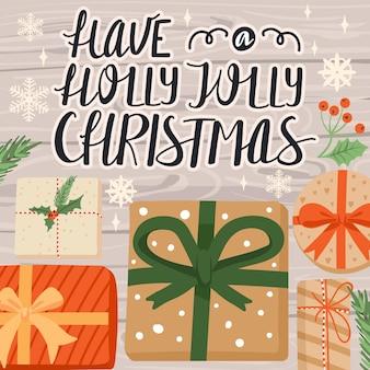 Illustrazione di buon natale e felice anno nuovo con regali e scritte su sfondo di legno