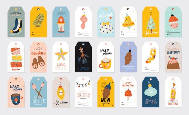 Illustrazione di buon natale o felice anno nuovo con scritte per le vacanze ed elementi tradizionali invernali. modello di etichetta, banner, tag o adesivi di carta carino in stile scandinavo.