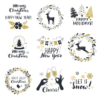 Etichette di buon natale e felice anno nuovo perfetto per striscioni biglietti di auguri etichette regalo