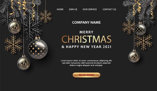 Modello di pagina di destinazione di buon natale e felice anno nuovo con decorazioni natalizie