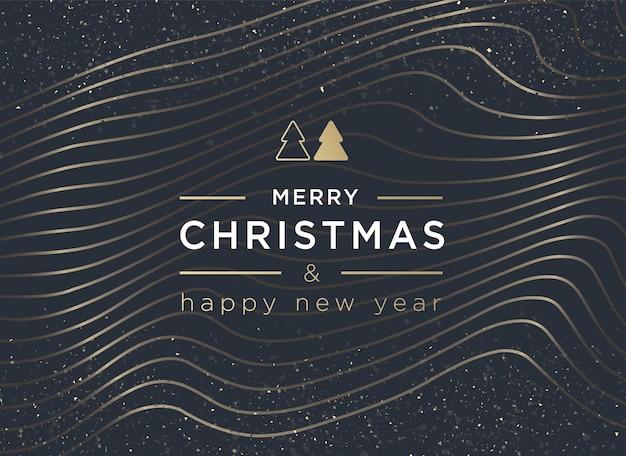 Buon natale e felice anno nuovo lettering biglietto di auguri o modello di invito vector