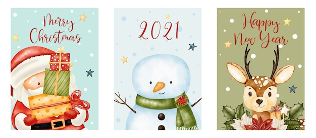 Buon natale e felice anno nuovo scritte con simpatico babbo natale, renne e pupazzo di neve