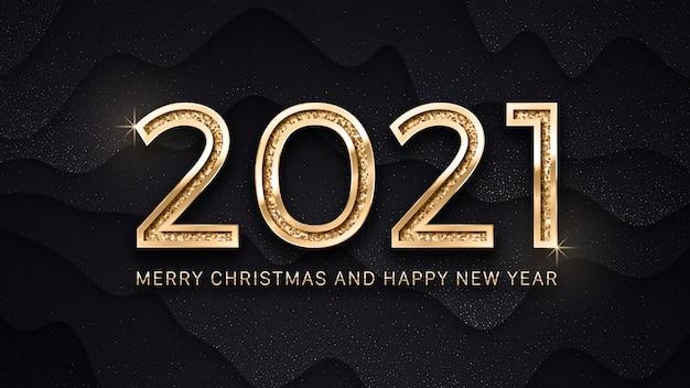 Buon natale e felice anno nuovo modello di biglietto di auguri di testo elegante dorato di lusso