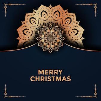 Buon natale e felice anno nuovo mandala sfondo design premium vector