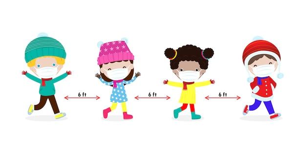 Buon natale e felice anno nuovo per il nuovo concetto di allontanamento sociale di stile di vita normale con i bambini.