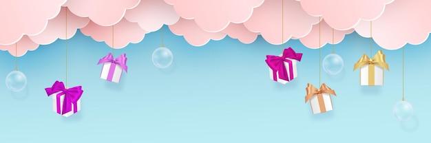 Buon natale felice anno nuovo papercut banner web illustrazione del paesaggio di stagione delle vacanze in stile piega carta.