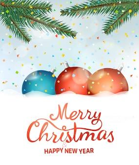 Buon natale e felice anno nuovo. sfondo annuncio festa con coriandoli e palline
