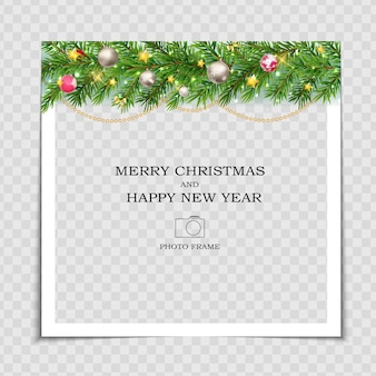 Modello di cornice per foto di buon natale e felice anno nuovo