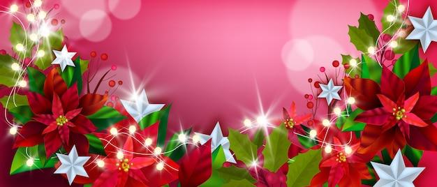 Buon natale e felice anno nuovo sfondo poinsettia con fiori invernali, foglie, decorazioni