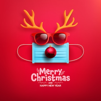 Buon natale e felice anno nuovo poster o striscione con il simbolo delle renne