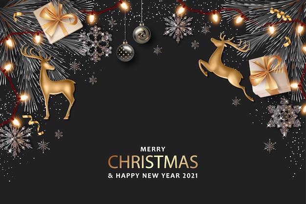 Banner realistico di buon natale e felice anno nuovo con cervi dorati e decorazioni natalizie