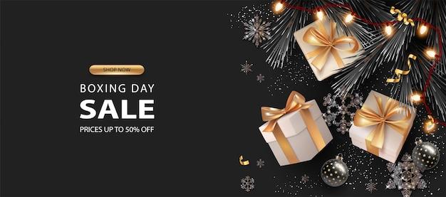 Banner realistico di buon natale e felice anno nuovo