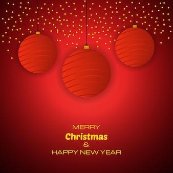 Buon natale e felice anno nuovo sfondo rosso con palle di natale. sfondo vettoriale per biglietti di auguri, inviti, manifesti festivi.