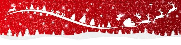 Buon natale e felice anno nuovo su sfondo rosso con paesaggio innevato e babbo natale