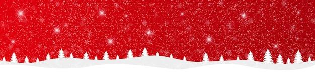 Buon natale e felice anno nuovo su sfondo rosso con paesaggio innevato