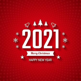 Buon natale e felice anno nuovo sullo sfondo di colore rosso