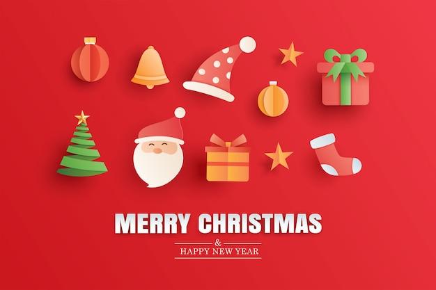 Buon natale e felice anno nuovo biglietto di auguri rosso nel modello di banner di arte di carta utilizzare per volantino copertina poster