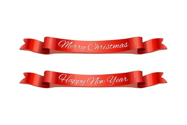 Nastri rossi di festa di buon natale e felice anno nuovo.