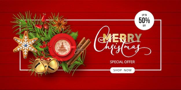 Banner di vendita di buon natale e felice anno nuovo