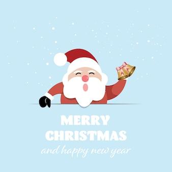 Buon natale e felice anno nuovo, babbo natale con biglietto di auguri. illustrazione vettoriale