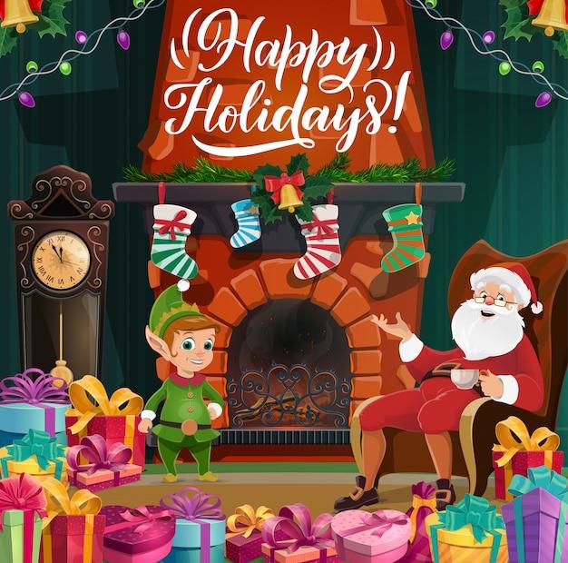Buon natale e felice anno nuovo, babbo natale ed elfo