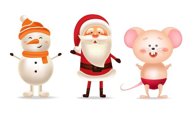 Buon natale, felice anno nuovo, babbo natale, pupazzo di neve e set di topo, cartolina invernale, insieme di natale