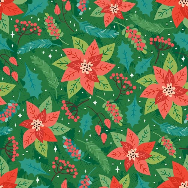 Buon natale e felice anno nuovo seamless pattern. sfondo festivo con elementi floreali natalizi, poinsettia, foglie di agrifoglio, bacche rosse, rami di abete. stile retrò alla moda. modello di disegno vettoriale