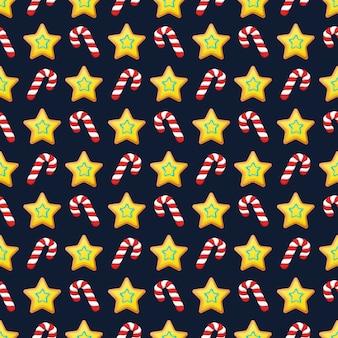 Buon natale e felice anno nuovo seamless pattern con biscotti di natale e caramelle. carta da regalo per vacanze invernali. sfondo