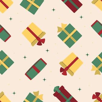Buon natale e felice anno nuovo modello senza cuciture con scatole regalo