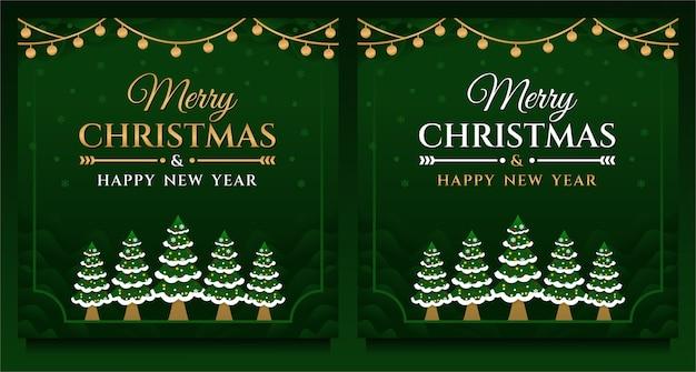 Buon natale e felice anno nuovo social media post, modello di banner con albero di natale
