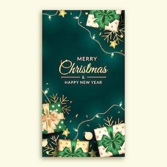Storia di buon natale e felice anno nuovo sui social media con decorazioni verdi realistiche