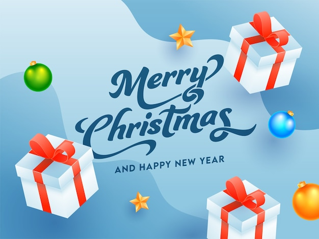 Testo di buon natale e felice anno nuovo con scatole regalo 3d