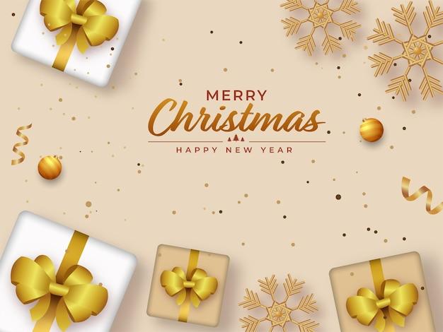 Testo di buon natale felice anno nuovo con scatole regalo realistiche vista dall'alto