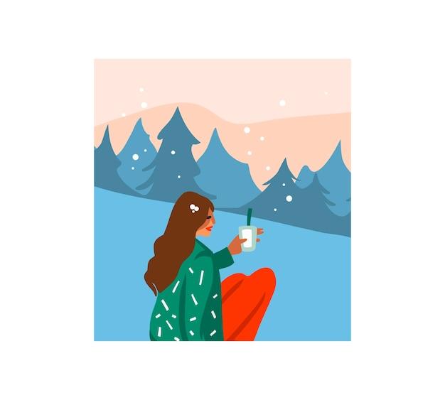 Illustrazione del fumetto di tempo di buon natale e felice anno nuovo