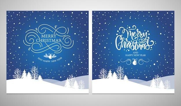 Buon natale e felice anno nuovo design tipografico per biglietti di auguri e poster.