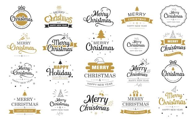 Etichetta di tipografia di buon natale e felice anno nuovo con set di simboli.