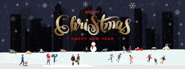 Buon natale e felice anno nuovo vettore banner paesaggio invernale in città con persone che celebrano