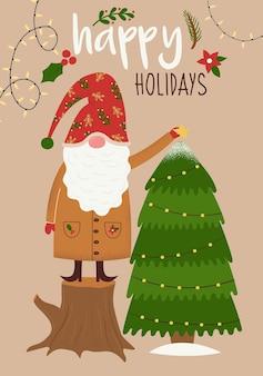 Carta vettoriale di buon natale e felice anno nuovo con un simpatico gnomo fatato che decora un albero