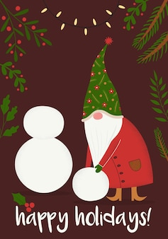 Carta vettoriale di buon natale e felice anno nuovo con un simpatico gnomo fatato che fa un pupazzo di neve